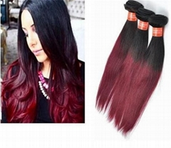 new 10A Ombre 1b/99j Brazilian Straight Hair Bundles Vrigin human hair