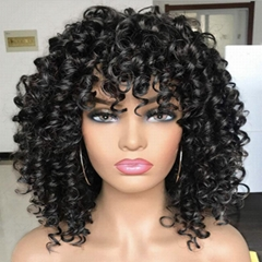 New Short Curly wigs Simulation Human Hair full wave wig Africa Style for Women