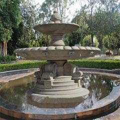 厂家定制黄锈石跌水钵园林庭院水池喷水珐大型黄金麻石雕喷泉