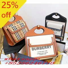 Burberry Two-Tone Canvas And Leather Handbag