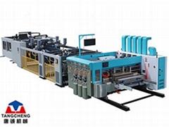 Corrugated carton box folder gluer stitcher inline flexo printer slotter