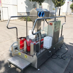 Boots washing machine with hand disinfection