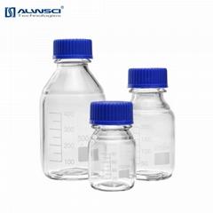1000mL 藍蓋試劑瓶 透明 玻璃容量瓶 帶刻度 絲口螺口瓶密封瓶