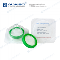 Labfil Green Individual Packing PES Sterile Syringe Filter