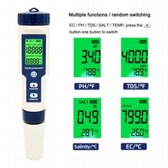 5 in 1 Digital pH Meter with TDS/EC/Salinity/Temperature Measurement Waterproof