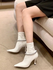 boots army boots cow leather boots High heel elastic boot lady shoes