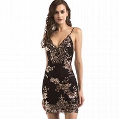Women Fall Fashion Party Casual Sleeveless Sequin Stylish Sexy Dress Backless