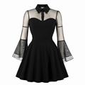 Mesh Sleeve Retro Midi Dress Women Clothing Lady Elegant Fat Woman Dress