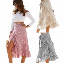 Irregular Frill Long Maxi Beach Skirt Womans Casual Floral Midi Skirt