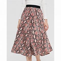 Women Summer Skirt Elastic waist Snake Skin Animal Print Midi Skirt