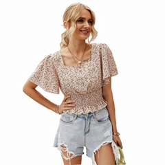 Summer Short Sleeve Floral Shirts And Blouses Square Collar Smocked Tops Women