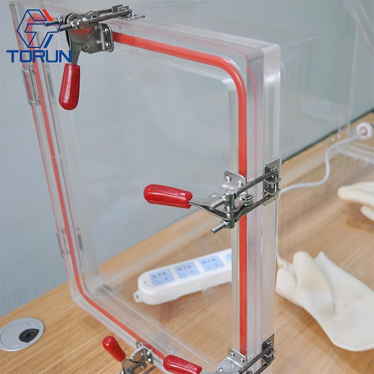 Lab Bench-top Acrylic Transparent Glovebox With Optional Box Sizes  4