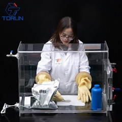 lab use acrylic glove box fillied with inert gas,PMMA glove box with vacuum tran