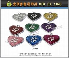 Color love dog paw metal pet tag