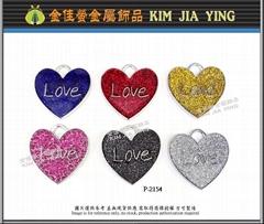 Colored heart metal pendant