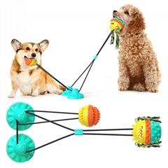 加強吸盤拉繩球 雙吸盤+雙球/犬用 寵物玩具