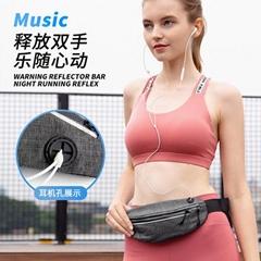 幻彩腰包 夜间警示反光条包 运动腰包