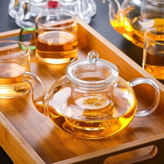 Cheap Heat Resistant Clear Glass Handmade Teapot With Tea Strainer And Glass Lid