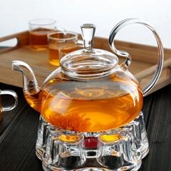 High borosilicate glass high handle flower teapot stainless steel spring tea inf
