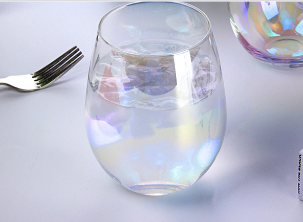2020 Amazon Hot Sales Wedding Champagne Colored Electroplated Rainbow Glass Cup 1