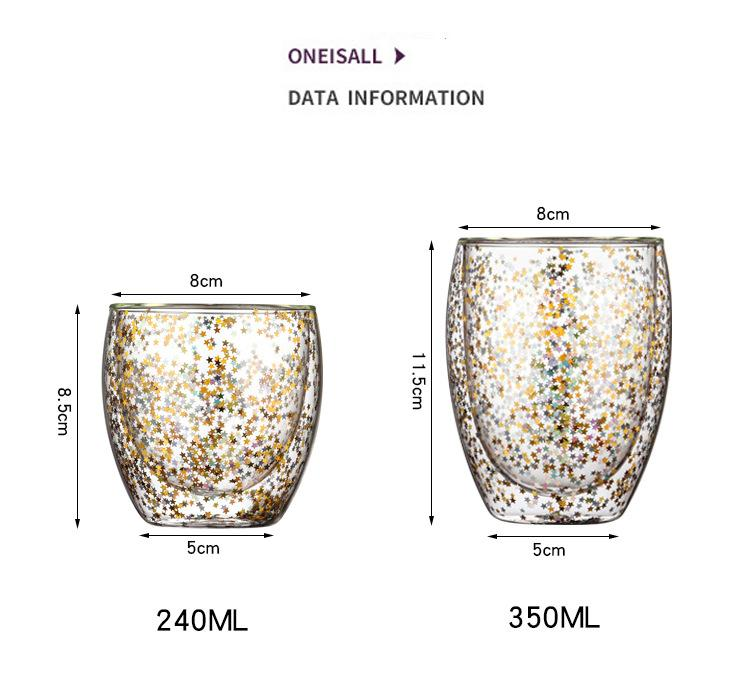 Dishwasher Safe New Design Double Walled Glass Coffee Tea Cup with Rainbow Sequi 3