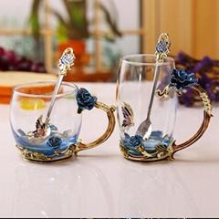 Modern Nice Flower Tea Coffee Glass Cup With Spoon Coffee Mugs 300ml