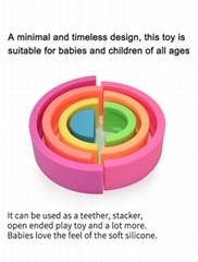 BPA Free Silicone Rainbow Toy For Baby Silicone Stacking Educational Teether Toy