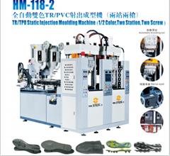 HM-118-2全自動雙色TR/PVC射出成型機(兩站兩槍)
