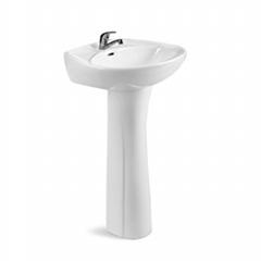Bathroom ceramic sanitary ware wash sink 2pcs pedestal basin