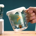 Hot Sale Christmas Tree Shape Double Wall Glass Coffee Cup For Gift 2