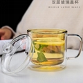 China Wholesale Colorful Double-Wall Glass Coffee Cup Mug Bodum Glass With Lid 3