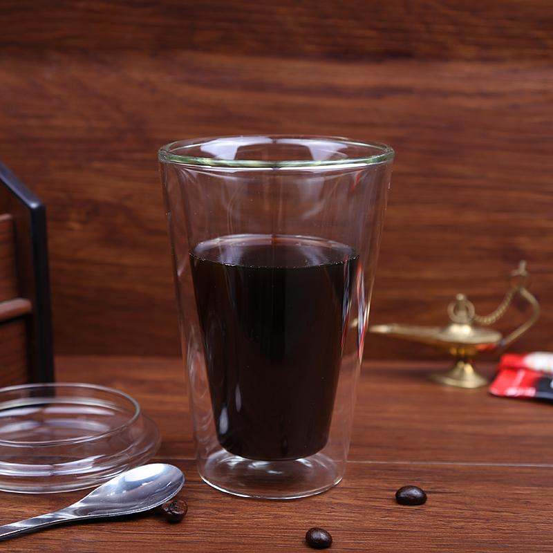 450ml/15 oz Straight Double Wall Glass Coffee Mugs With Logo Customized 1