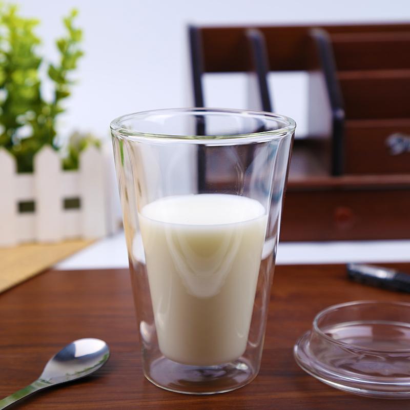 450ml/15 oz Straight Double Wall Glass Coffee Mugs With Logo Customized 3