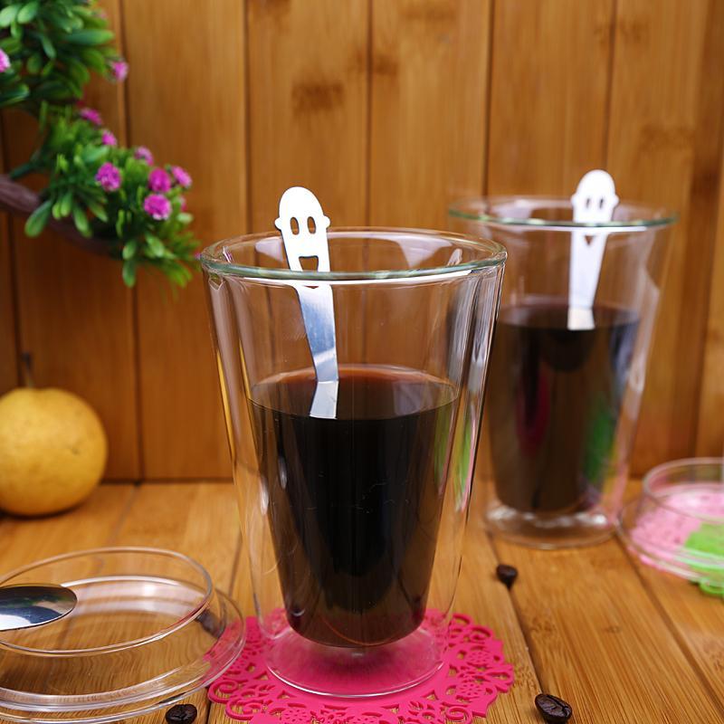450ml/15 oz Straight Double Wall Glass Coffee Mugs With Logo Customized 5