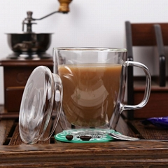 LFGB Hot Selling Double Wall Glass Reusable Glass Coffee Cup With Handle Tea Cup