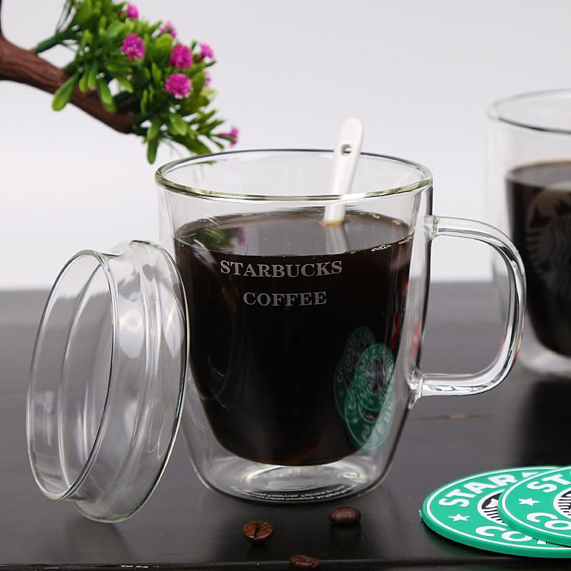 LFGB Hot Selling Double Wall Glass Reusable Glass Coffee Cup With Handle Tea Cup 2
