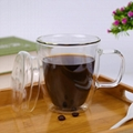 LFGB Hot Selling Double Wall Glass Reusable Glass Coffee Cup With Handle Tea Cup 5