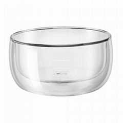 Best Selling Hand Made Borosilicate Clear Double Wall Glass Bowl Salad Bowl