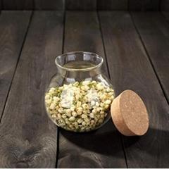 Custom Round Empty Borosilicate Kitchen Pasta Candy Spice Food Storage Glass Jar