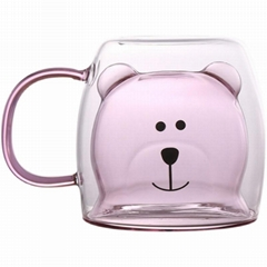 Bear shape double wall glass cup, 3D beer shape double layer glass cup