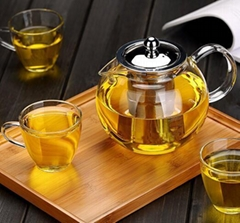 pyrex direct fire high borosilicate glass teapot set with glass strainer