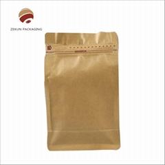 Aluminum Foil Flat Bottom Coffee Bean Bags With Va  e