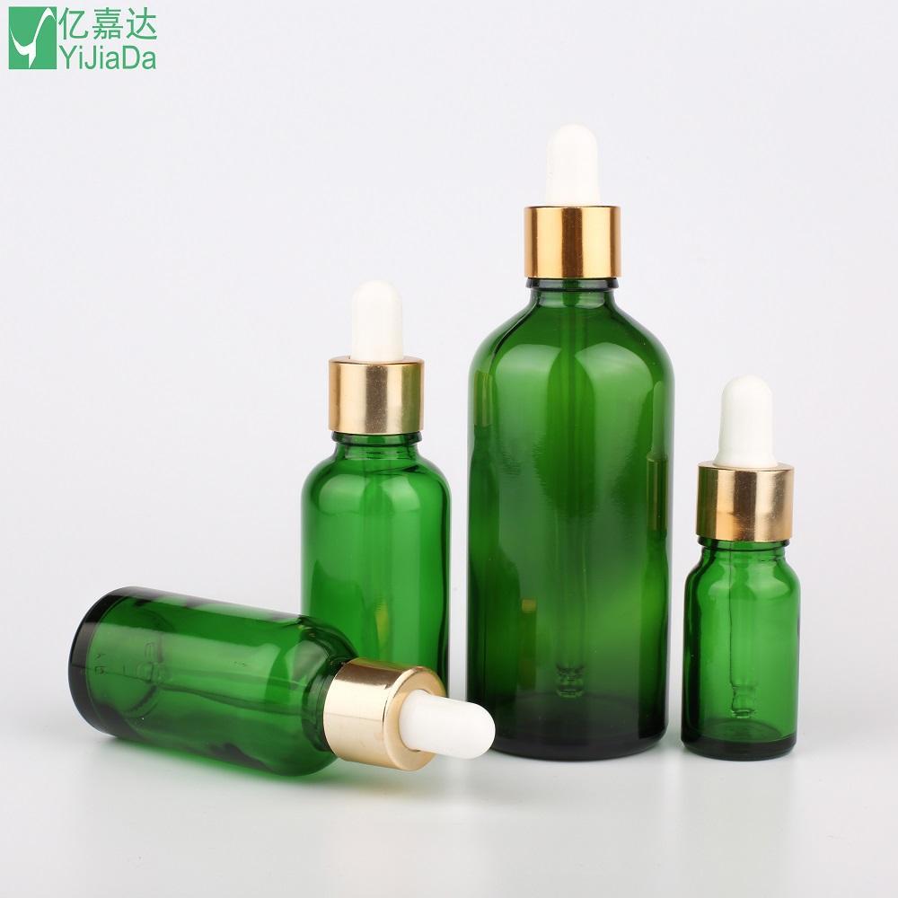 Green glass dropper frangrance bottles essential oil bottles 10ml 30ml 100ml 1