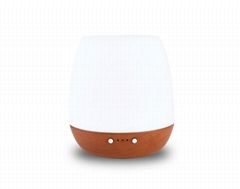 Mona-Portable Wooden Base White Electric Ultrasonic Diffuser With Light