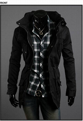 2021 autumn and winter new solid color outerwear stitching casual jacket men's r
