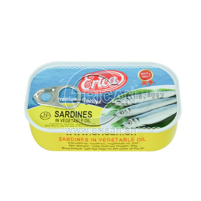 Hot Sale 125g Canned Sardine Fish in Vegetable Oil 1