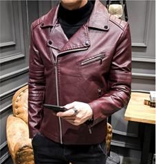 Men's leather jacket 2018 autumn Korean version of Slim youth motorcycle PU leat