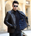 Winter new leather down jacket men's