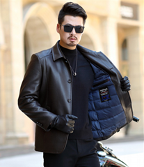 Winter new leather down jacket men's casual lapel leather jacket thickened warm