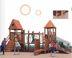 湖南戶外大型儿童玩具木質滑滑梯組合